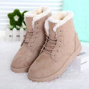 Shoes - Women Platform Furry Ankle Boots - Beige